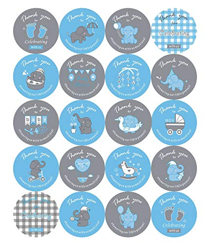 2 inch Elephant Theme Baby Shower Thank You Stickers, Baby Shower Favor Labels -100 Count (Blue)