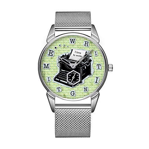 Mode wasserdicht Uhr minimalistischen Persönlichkeit Muster Uhr -991. SchreibZeit Schreibmaschine für Autoren Custom