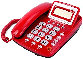 LULUD Home Wired Telephone, Landline, No Battery, Stylish Sitting Office Fixed Telephone, Answering Machine (Color : Red)