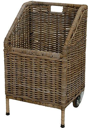 Wooden trolley / storage basket made from Kubu-Rattan natural tube/newspaper trolley