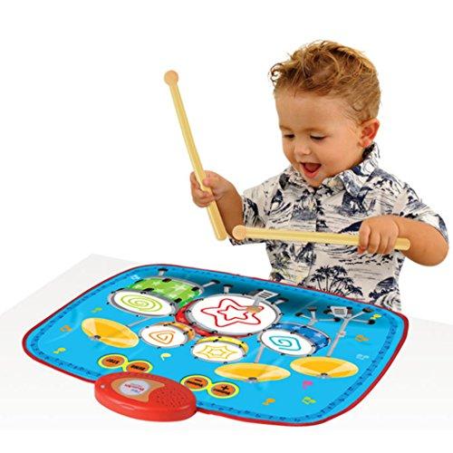 GANADA Trommelplatte Kinder Cooles Schlagzeug Drum Set Schlagzeug Spielzeug mit 2 Schlagzeugsticks Geschenk für Kleine Kinder Geeignet Ab 2 Jahre