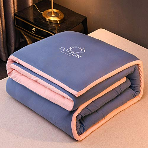 Thick & Warm Duvet Quilt Double,Warm quilt in autumn and winter, washable quilt core for 1 student and 2 people-blue_150*200cm/59 * 79'/7.7LB