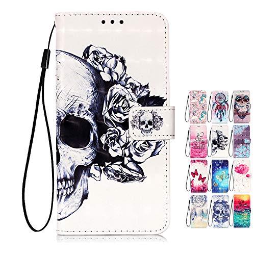 Rose-Otter für Handyhülle Samsung Galaxy A21S Hülle Tasche Leder Wallet Flip Case Kartenfach Klappbar Schutzhülle Cover 3D Muster Schädel Blume