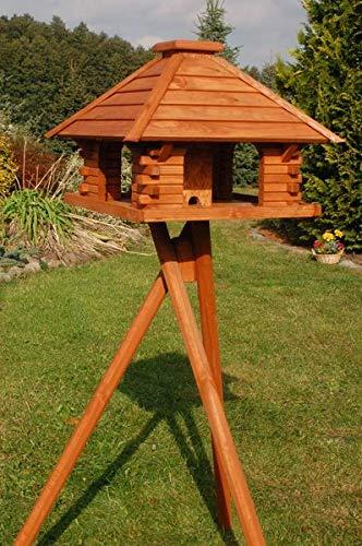 Deko-Shop-Hannusch Vogelhaus Futterhaus Futterhäuschen Vogelvilla mit Solarbeleuchtung, wahlweise mit oder ohne Vogelhausständer V20, Vogelhausständer:mit Vogelhausständer