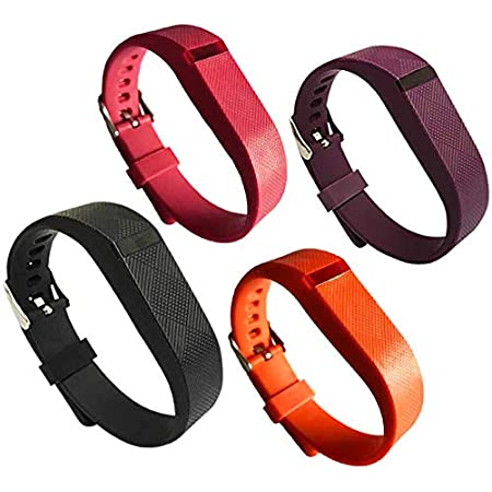 4PCS EPYSN Compatible with Fitbit Flex Band,Silicone Replacement Wristband for Fitbit Flex Bracelet Sport Bands with Metal Watch Band Buckle Large/Small