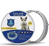collare per pulci di gatto-collare per insetticidi di gatto-12 mesi per prevenire l'infestazione da ti, ipoallergenico regolabile, sicuro e impermeabile-naturale (gray)