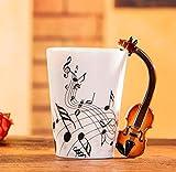 400Ml Tazza Di Musica Creativo Violino Stile Chitarra Tazza Di Ceramica Tazza Di Caffè Tazza Di Tè Per Uso Domestico Tazza Di Caffè Al Latte Con Manico Romanzo Regalo Nota Tazza Tazza D'Acqua-B