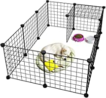 Newrainbow Pet Playpen Metal,Metal Pet Folding Playpen Dog Kennel Pets Fence Exercise Cage 12 Panels Metal Wire Yard...