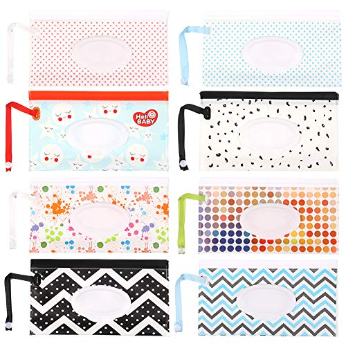 Baring 8 Pieces Wet Wipe Pouch Reusable, Refillable Baby Wipe Dispenser Container Portable Wipes Holder Case for Travel-Pouch Carries(8 Patterns)