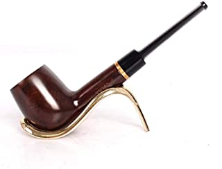 Full Straight Tobacco Pipe - Solid Wood Round Bottom Hand-Circle Ebony Straight Rod Filter Ebony Pipe - Hand Made