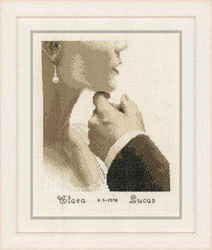 Vervaco Stickpackung Hochzeit Brautpaar, Zählmuster Zählmusterpackung, Baumwolle, Mehrfarbig, 21 x 25 x 0,3 cm