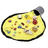 星印 お片付け簡単 おもちゃ 収納マット 室内 遊び 持ち運び 収納袋 洗濯可能 子供 (イエロー、1.5m)