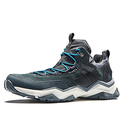 RAX Scarpe da trekking leggere da uomo, in pelle scamosciata, a vita bassa, multifunzionali, da trekking, Nero (Nero carbonio.), 42 1/3 EU