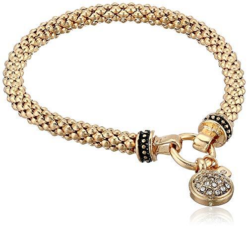 NINE WEST Women's Boxed Bracelet Pave Circle Stretch, Gold/Crystal, Gold