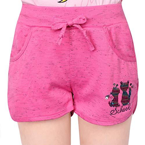L&K-II Mädchen Shorts mit Katze Pailletten Muster Kinder Baby Kurze Hose Baumwolle 2706 Rosa 128