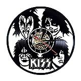 Fun rock band reloj de pared diseño moderno decoración de la sala de estar tema musical disco de vinilo retro reloj de pared reloj de registro de CD reloj colgante de pared decoración del hogar