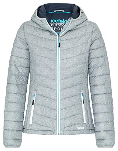 icefeld Damen Jacke/Steppjacke/Isolationsjacke, grau-meliert in XXXL