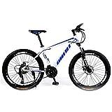 NOVOKART VTT Vélo de Montagne Country 27.5 inch, VTT Adulte,Vélo Semi-Rigide avec siège réglable, Cadre en Acier au Carbone épaissi,Blanc Bleu, Roue à Rayons, 21- décalage d'étape