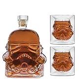 AUTITOR Transparent Creative Whisky Dekanter, Whisky Karaffe, für Whisky, Wodka und Wein, 1 * Stormtrooper Flasche (750 ml) & Stormtrooper 2 Gläser (8,5 x 9,5 x 9 cm)
