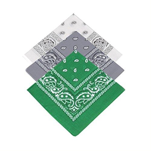 Buckingham Boutique Set di 3 fasce cachemire di alta qualità per donne, ragazze, uomini e ragazzi, 100% cotone, bandana, foulard, fazzoletto, cravatta (bianco, grigio, verde scuro)