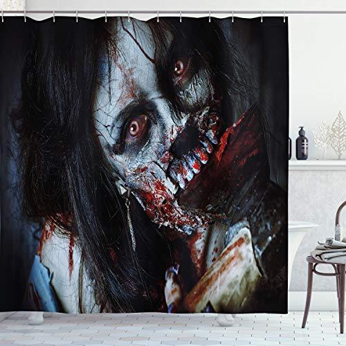 ABAKUHAUS Duschvorhang, Furchteinfliesende Tote Frau Zombie Blutige Axe Evil Fantasy Gothic Geheimnis Halloween Bild, Blickdicht aus Stoff inkl. 12 Ringe für Das Badezimmer Waschbar, 175 X 200 cm