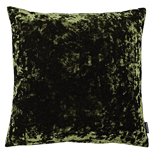 Riva Paoletti Roma Square Cushion Cover - Olive Green - Crushed Velvet Look and Feel - Hidden Zip Closure - Machine Washable - 100% Polyester - 50 x 50cm (20' x 20' inches)