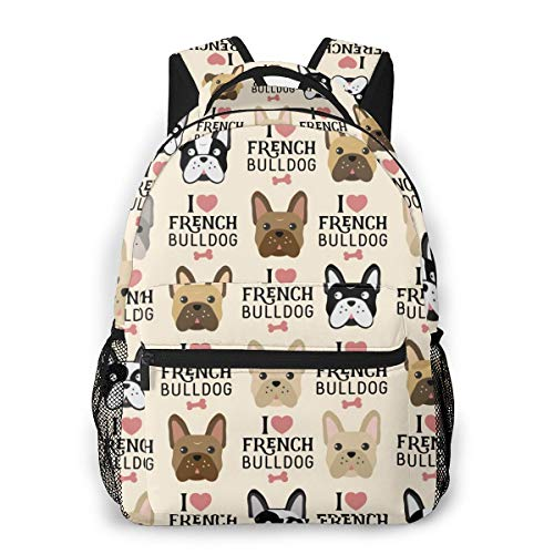 Student Backpack I Love French Bulldog Seamless Pattern Unisex Laptop Bag Lightweight Casual Rucksack For Commuter, School And Traveling Fits 15.6 Inch Laptop