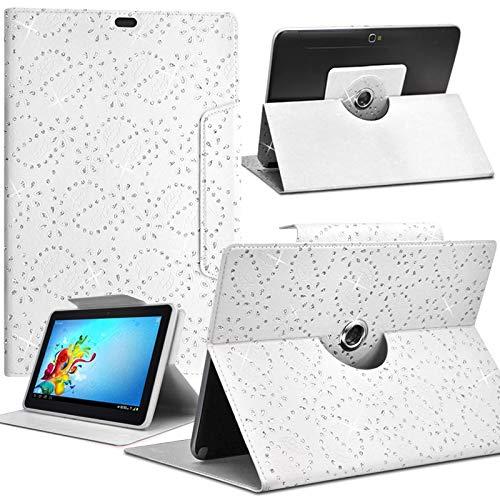 Karylax - Funda universal para tablet Alcatel One Touch Pixi de 7 pulgadas, diseño de diamante, color blanco