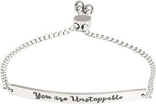 """A N KINGPiiN Pulsera con eslabones ajustables para mujer, diseño de texto en inglés """"You are Unstoppable"""""""