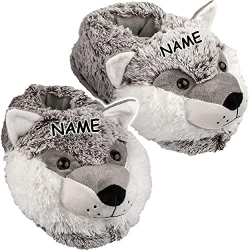 alles-meine.de GmbH Hausschuh / Pantoffel -  Hund Husky  - incl. Name - Größe Gr. 37 - 38 - 39 - 40 - 41 __ schön warm __ Plüschhausschuh / Tier - Tiere - für Kinder & Erwachse..