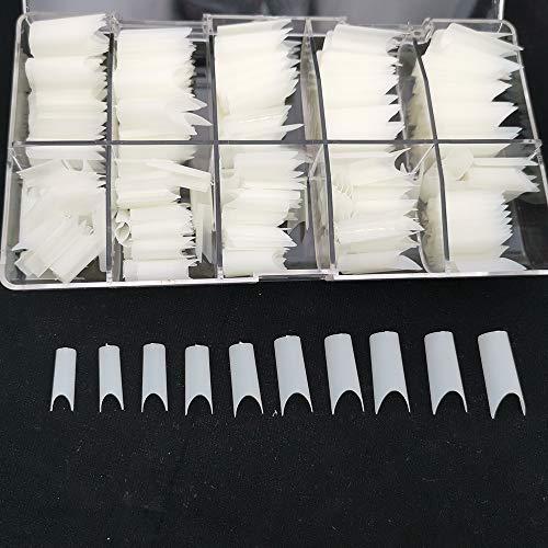 500 unghie ovali 10 misure – Unghie naturali, adatte per uso salone