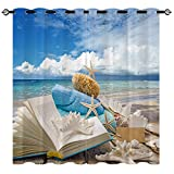 EiiChuang Beach Curtains, Towel Book Starfish Beautiful Coast Beach Board Pattern Print Semi Blackout Curtain Home Decor Grommet Window Drapes for Bedroom Living Room Kitchen 2 Panel 27.5 x 39 Inch