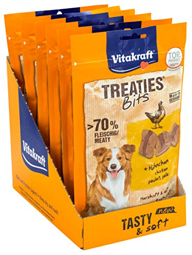 Vitakraft - Snack per cani Treaties Bits Pollo, 6 x 120 g