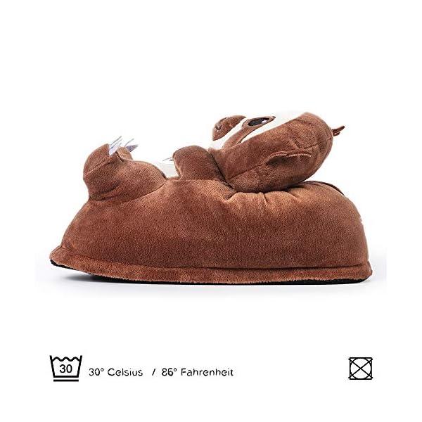corimori 1847 (10+ Designs) Sloth Henry Cute Plush 3D Animal Shaped Slippers, Funny Lounge Shoes, Womens Sizes 4-13