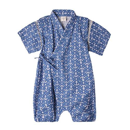 PAUBOLI Japanese Kimono Style Baby Rompers Bathrobe Pajamas Infant Cotton Comfy Loose Bodysuit (9-18 Months, 03)