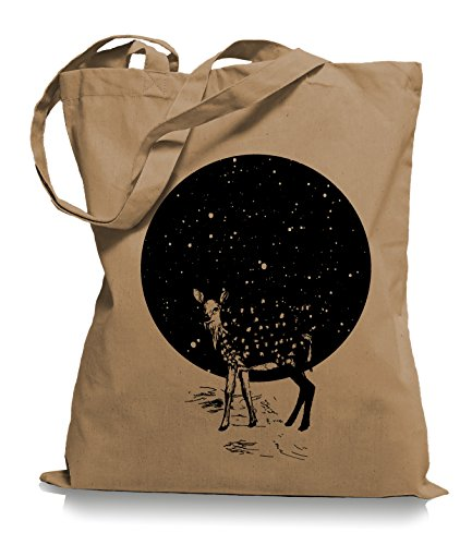 Ma2ca Deer Moon Stoffbeutel   Hirsch Tragetasche Mond Reh -caramell