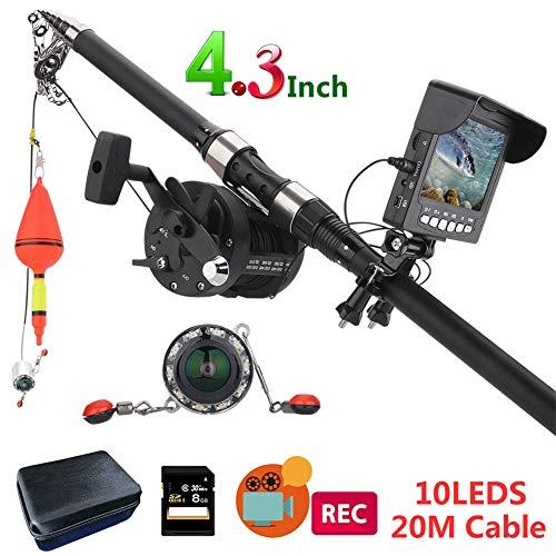 MXXQQ sous Système de Caméra Vidéo, Portable DVR Moniteur Fish Finder, 10PCS LED Night Vision 175 ° mer Roue caméra sous-Marine de pêche, pour la pêche avec 8 Go Carte TF,Cable 20M