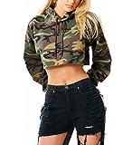 Las Mujeres Sudadera con Capucha Cortas Militar Camuflaje Crop Tops Sweatshirt Encapuchado Camisa Manga Larga Pullover Blusa Otoño Invierno Grueso Cálido Deportivas Estilo Militar Hippie