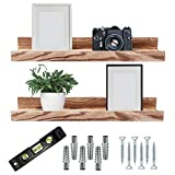 Picture Ledge Shelf - Set of 2 Wooden Floating Photo Ledge - 16 Inches Long with Shelf Rail - Mounting Hardware & Level Included - Enhance Decor & Storage with Wall Shelves for a Space Saving Solution