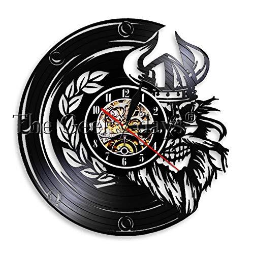 TJIAXU Viking Skull Warrior Wanduhr aus echtem Vinyl Schallplatte Horror Scary Skeleton Light Uhr Sleepy Lamp mit Fernbedienung