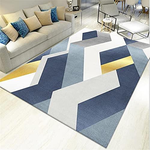AU-SHTANG Alfombra Cuadrada Alfombra Azul, patrón geométrico Suave, té desbordador, Alfombra alfombras Dormitorio pie de Cama -Azul_160x230cm