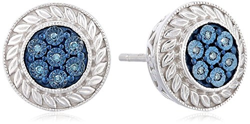 Jewelili Sterling Silver Blue Diamond Accent Round Stud earringss