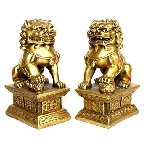 Un par de Golden Guardian Pekín Leones Par Estatuas de los Perros Fu Foo, Decoración de Feng Shui Chino para el hogar y la Oficina.