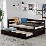 Wood Daybed with a Trundle No Box Spring Required Twin Trundle Daybed (Espresso Trundle Daybed)