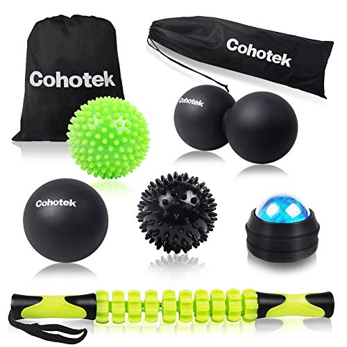 Cohotek 6PCS Massage Ball Roller Set, 2 Size Spiky Ball, 1 Lacrosse Ball, 1 Peanut Ball, 1 Roller Stick, 1 Manual Massage Ball, Mobility Balls for Trigger Point Relief and Plantar Fasciitis Therapy