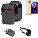 K-S-Trade® Gürtel-Tasche Für Coolpad Cool S1 Handy-Tasche Schutz-hülle Grau Zusatzfächer 1x