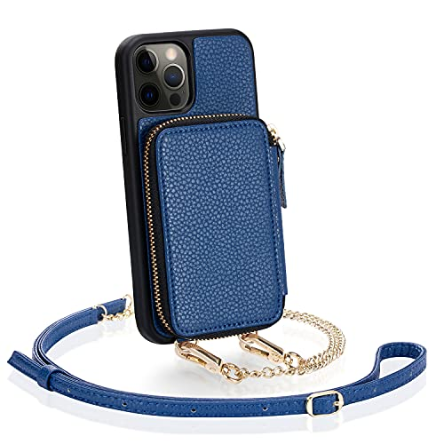 ZVE Zipper Wallet Case for iPhone 12 Pro/iPhone 12, 6.1 inch, Purse Case with Card Holder Crossbody Chain Wrist Strap Compatible with iPhone 12 Pro/iPhone 12 (2020), 6.1 inch-Navy Blue