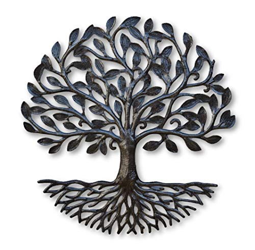 Small Metal Tree of Life with Roots, 17.25 In. Round Wall Hanging Art, Decorative Nature Inspired, Upcycled Artwork, Handmade in Haiti, Fair Trade Federation Certified
