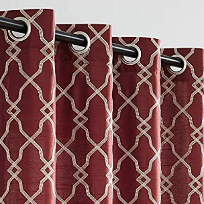 """Embroidery Window Curtain Panels Faux Silk Geometric Moroccan Trellis Semi Sheer Drapes Grommet Top Window Treatment Sets for Living Room Bedroom 52""""x84""""x2,Burgundy"""
