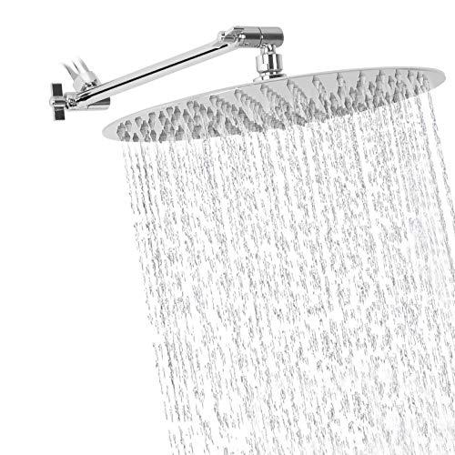 Rain Shower Head with 11'' Adjustable Arm, NearMoon High Pressure Stainless Steel Rainfall Showerhead, Ultra-Thin Design - Pressure Boosting (12-Inch Shower Head with Arm, Chrome)
